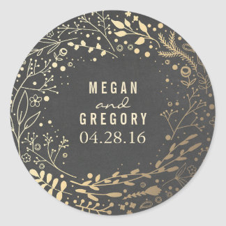 Gold Baby's Breath Floral Bouquet Chalkboard Classic Round Sticker