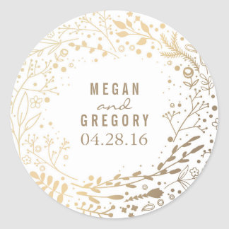 Gold Baby's Breath Floral Bouquet White Cute Classic Round Sticker
