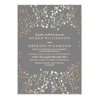 Gold Baby's Breath Floral Grey Wedding Card