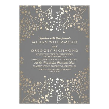 Toddler & Baby themed Gold Baby's Breath Floral Grey Wedding Card