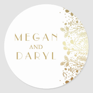 Gold Baby's Breath Florals Wedding Classic Round Sticker