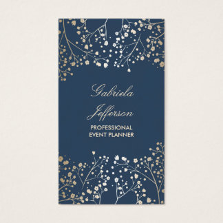 Gold Baby's Breath Navy Business Card