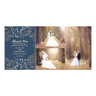 Gold Baby's Breath Navy Wedding Photo Thank You Card
