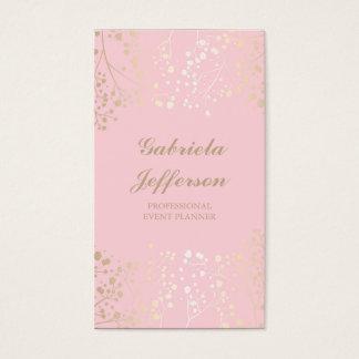 Gold Baby's Breath Pink Vintage Elegant Business Card