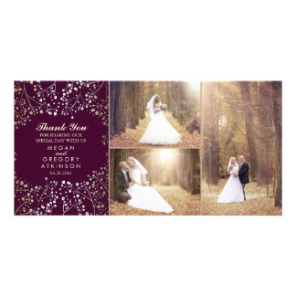 Gold Baby's Breath Plum Wedding Photo Thank You Card