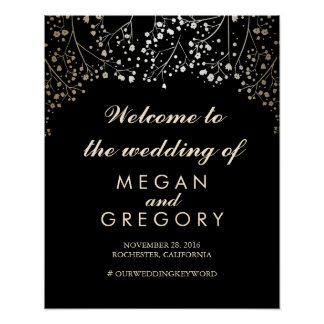 Gold Baby's Breath Wedding Welcome Sign Black