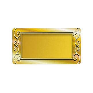 Gold Background Blank Address Labels