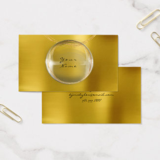 Gold Ball Glass Pearly Mustard Metallic Yellow Business Card