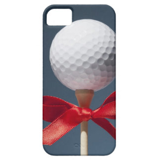 Gold ball on tee with red bow iPhone SE/5/5s case