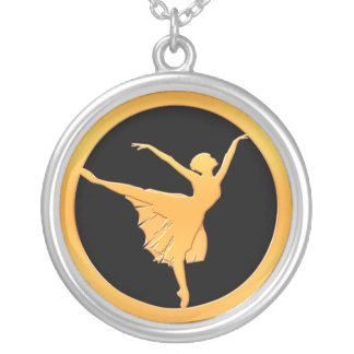 Gold Ballet Dancer Silver Plated Necklace
