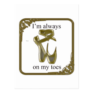 Gold ballet shoes with text postcard