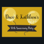 """Gold Balloons50th Anniversary Party Lawn Sign<br><div class=""""desc"""">Let everyone know where the party&#39;s at with this festive yard sign. The sign has a gold background color with illustrations of gold balloons, and spaces for you to enter your own names and messages. The golden balloons makes this sign perfect for 50th anniversary parties. We have more fiftieth anniversary...</div>"""