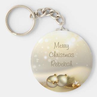 Gold Balls, Bells and Stars Keychain