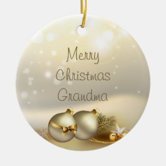Gold Balls, Bells and Stars Double-Sided Ceramic Round Christmas Ornament