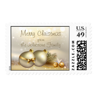 Gold Balls, Bells and Stars Postage Stamps