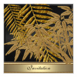Gold bamboo leaves Birthday Party Card