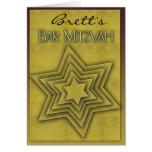 Gold Bar Mitzvah / Star of David Greeting Card