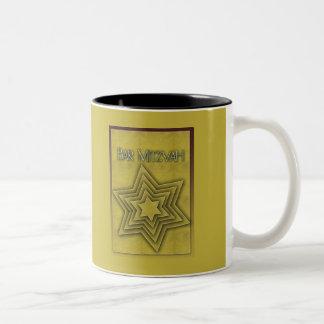 Gold Bar Mitzvah / Star of David Two-Tone Coffee Mug