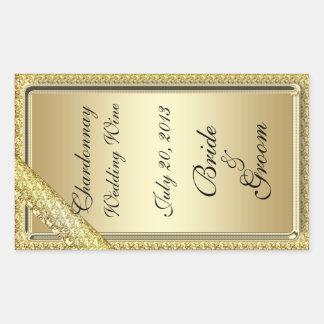 Gold Bar Wedding Wine Label Sticker Stickers