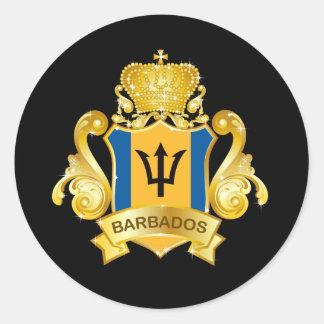 Gold Barbados Classic Round Sticker