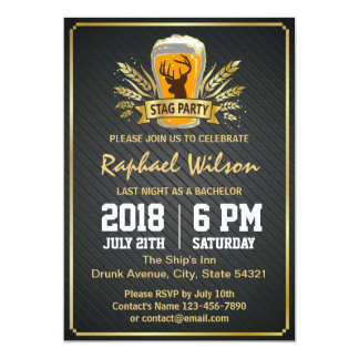 Gold Barley Beer & Twill Metal Bachelor Party Card
