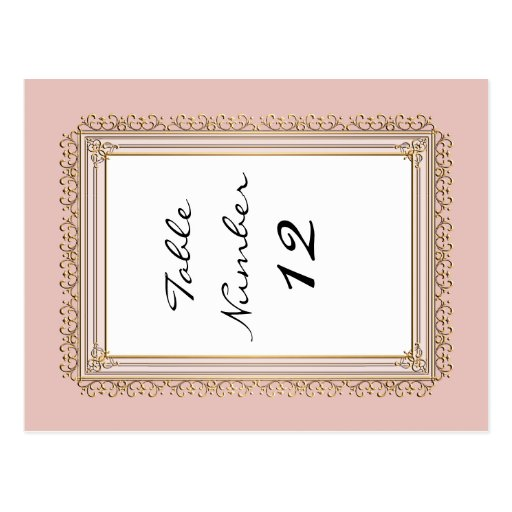 Gold Baroque Classic Formal Elegant Table Numbers Post Card