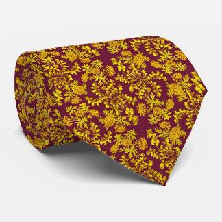 Gold Baroque Floral Print Tie