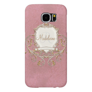 Gold Baroque Lace Parchment Swirl Monogrammed Samsung Galaxy S6 Case