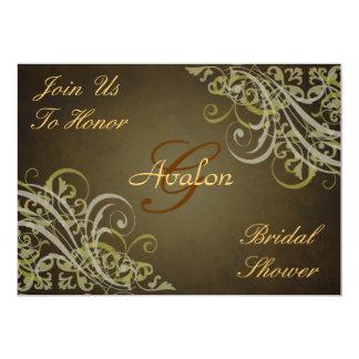 Gold Baroque Swirls Bridal Shower Brown Invitation