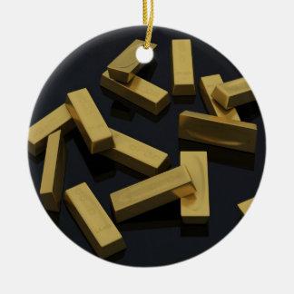 Gold bars in bulk on a black background ceramic ornament