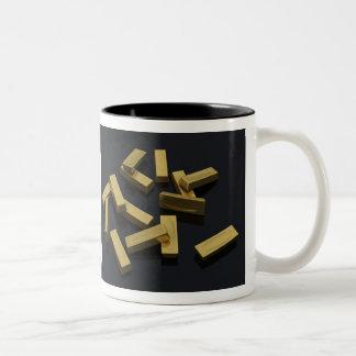 Gold bars in bulk on a black background Two-Tone coffee mug