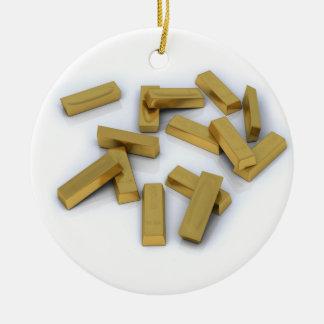 Gold bars in bulk on a white background ceramic ornament