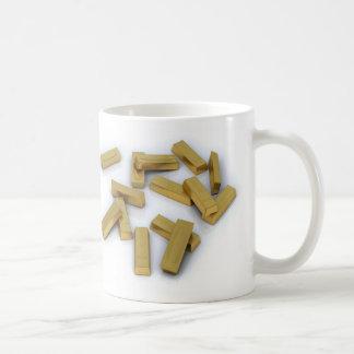 Gold bars in bulk on a white background coffee mug