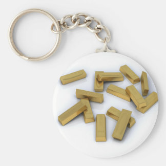 Gold bars in bulk on a white background keychain