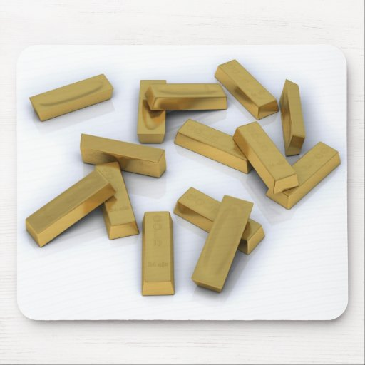 Gold bars in bulk on a white background mouse pads