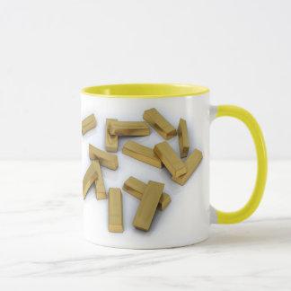 Gold bars in bulk on a white background mug