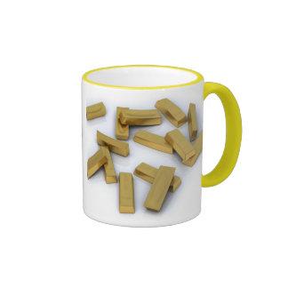 Gold bars in bulk on a white background ringer mug
