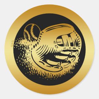 GOLD BASEBALL GLOVE AND BALL CLASSIC ROUND STICKER
