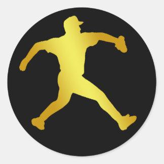 GOLD BASEBALL PITCHER STICKER