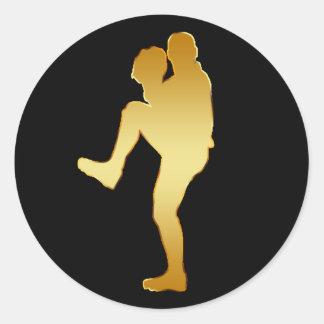 GOLD BASEBALL PLAYER CLASSIC ROUND STICKER