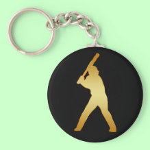 Gold Baseball Player Keychain - Show your love for Baseball and softball with this custom gold batter design.