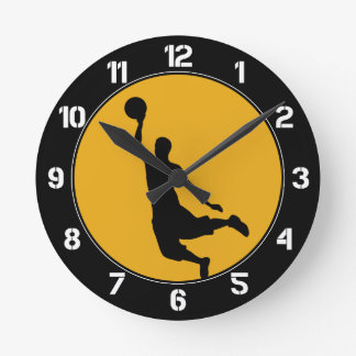 Gold Basketball Circle Numbered Round Clock
