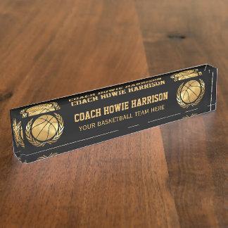 Gold basketball Coach Name Plate