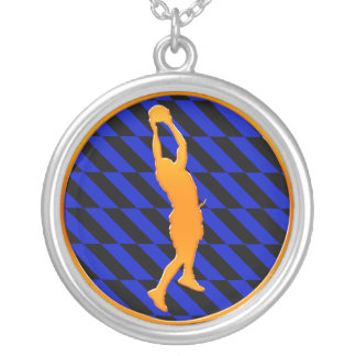 Gold Basketball Player Silver Plated Necklace
