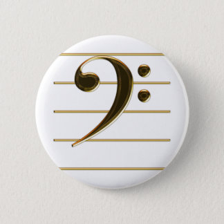 Gold Bass Clef Music Note Button