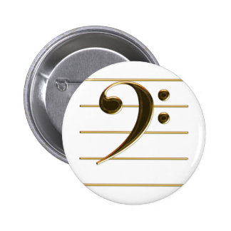 Gold Bass Clef Music Note 2 Inch Round Button