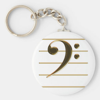 Gold Bass Clef Music Note Keychain