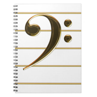 Gold Bass Clef Music Note Notebook