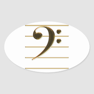 Gold Bass Clef Music Note Oval Sticker