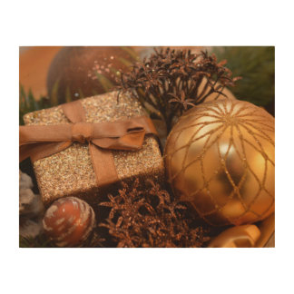 """Gold Bauble and Christmas Present 14"""" x 11"""" Wood Wall Art"""